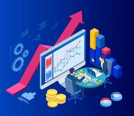 Concepto de negocio web isométrico de administración financiera, contabilidad, análisis, auditoría, informe financiero. Auditoría del proceso fiscal. Documentos, gráficos, cuadros, planificador, calendario, informe.