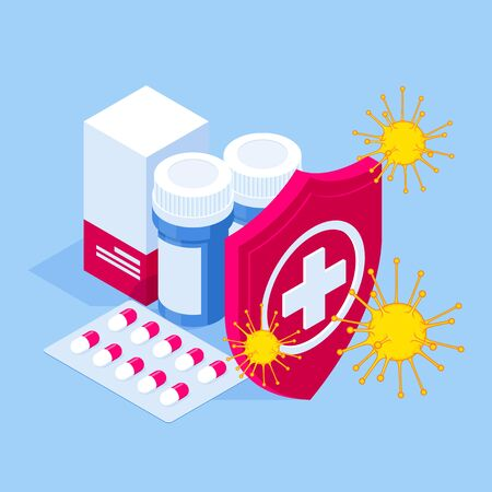 Isometric pills tablets and medicines in plastic bottle. Healthy eating concept. Protection against viruses and bacteria.