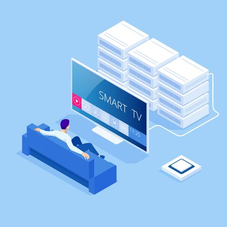 Isometric concept of Smart TV interface. A smartphone is a remote for a smart TV. Interface for Smartphone app. Digital multimedia entertainment and media television broadcasting internet
