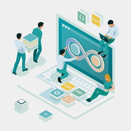 Isometric technology process of Software development. Web development and coding. Cross platform development website. Illustration