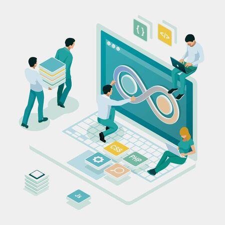 Isometric technology process of Software development. Web development and coding. Cross platform development website. Illustration
