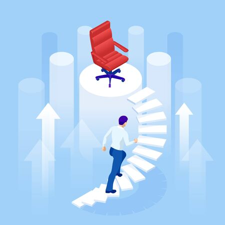 Concetto di crescita di carriera di affari isometrica. Sfida, problemi, ostacoli, percorso verso l'obiettivo, crescita del concetto di business verso il successo, sfida dell'uomo d'affari della scala di progresso Vettoriali