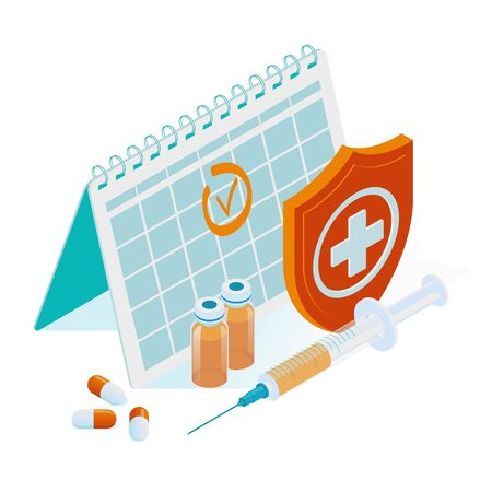Isometric Time to vaccinate concept. Vaccine for influenza, measles, diphtheria, or rabies. Syringe with a vaccination calendar and doctors, bottle, and virus.
