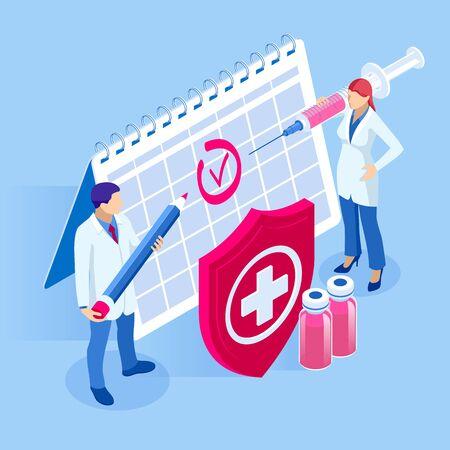 Izometryczny czas do koncepcji szczepień. Szczepionka przeciw grypie, odrze, błonicy lub wściekliźnie. Strzykawka z kalendarzem szczepień i lekarzami, butelką i wirusem.
