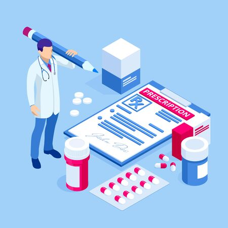 Online doctor at work. Health medical science. Medicine and pharmacy banners. Pharmacist care for the patient. Medicine industry. Ilustração