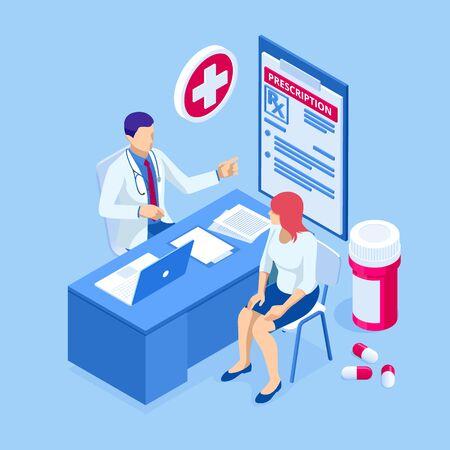 Lekarz online w pracy. Nauki medyczne o zdrowiu. Banery medycyny i farmacji. Opieka farmaceutyczna nad pacjentem. Przemysł medyczny. Ilustracje wektorowe