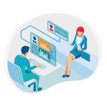 Consultation financière isométrique ou conseil aux entreprises, communication, concept analytique des médias sociaux.