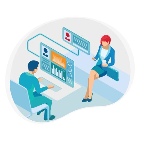 Isometric Financial consultation or Business Consulting, Communication, Social Media Analystic concept.