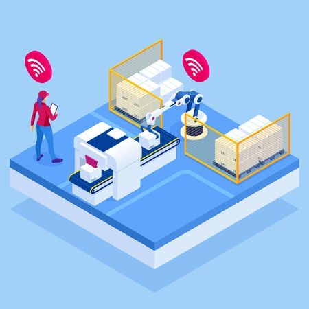 Isometric iot smart industry 4.0 with development production packaging and delivery steps. Automation robotic arm working in operation machine zone in factory.