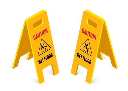 Isometric caution wet floor sign isolated on white background Иллюстрация