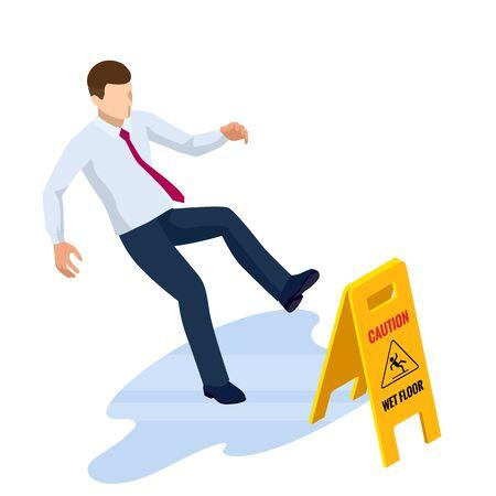 Signe de sol mouillé de prudence isométrique isolé sur fond blanc. L'homme a glissé sur le sol mouillé.