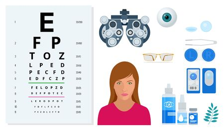 Flat set of Ophthalmology and eye care icons. Medical health equipment. Check eyesight for eyeglasses diopter.