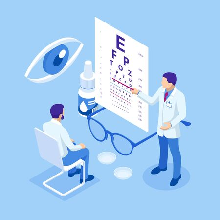 Isometric Medical Ophthalmologist Eyesight Check-Up concept. Ilustracja