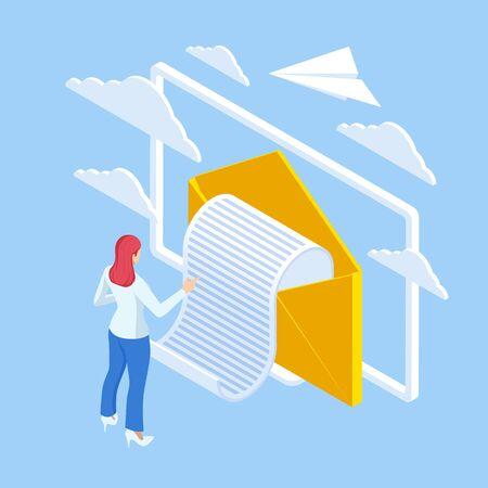 Isometric Email Inbox Electronic Communication.