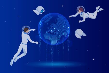 Isometric Global Network planet Earth.