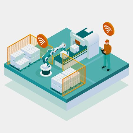 Isometric iot smart industry 4.0 with development production packaging and delivery steps.