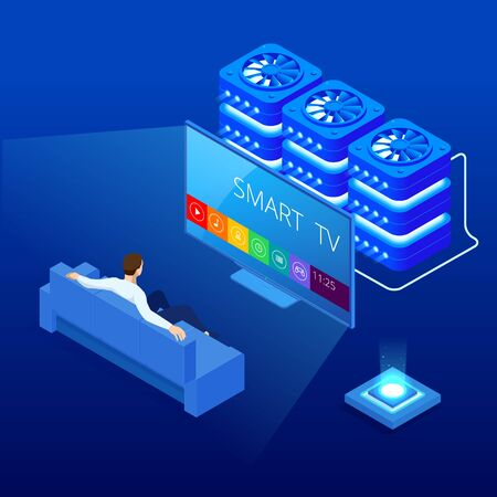 Isometric young man suiting on the sofa watching smart tv on television at home. Stock Illustratie