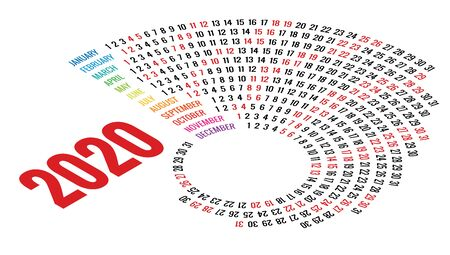 Colorful round calendar 2020 design, Print Template, Your Logo and Text.