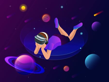 Isometric virtual reality concept. A boy in virtual reality glasses looks at planets, comets and stars, space exploration.