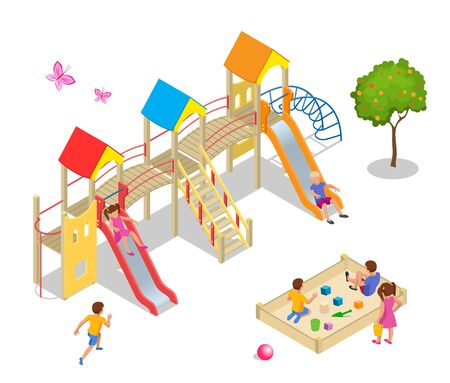 Isometric kids, boys and girls are playing on the playground. Stock Illustratie