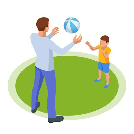 Isometric outdoor recreation Leisure for the family. Father and son play ball. Stock Illustratie