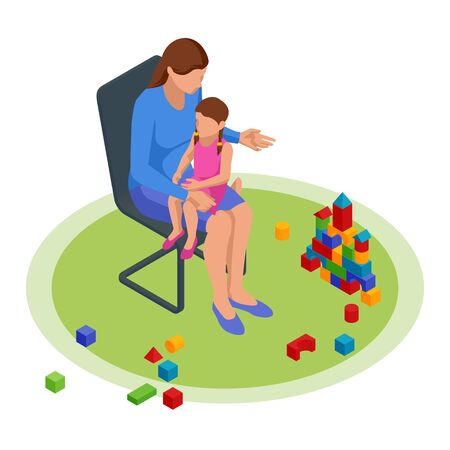 Isometric concept of Mom tells children tales in the nursery. Happy family and childhood concept
