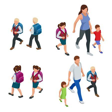 Isometric Back to School. Parents with their children schoolchildren