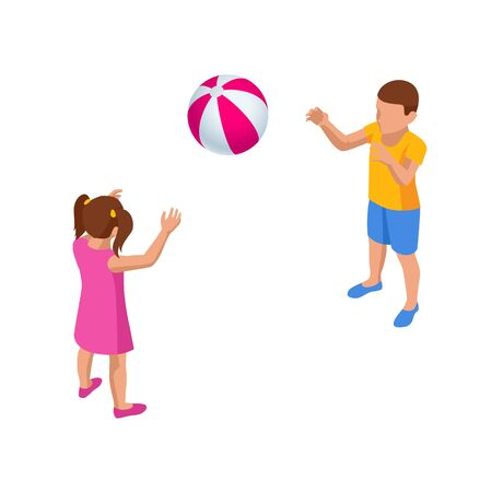 Isometric Children playing with a Ball. Boy and girl have fun at the park or on the playground.