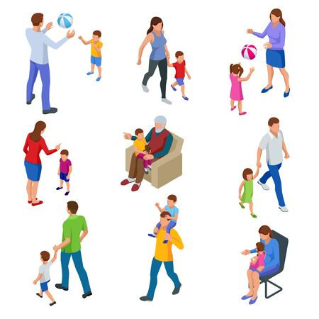 Isometric ollection of isolated isometric happy traditional families with children. grandfather, Father and son, mother and daughter, and all together