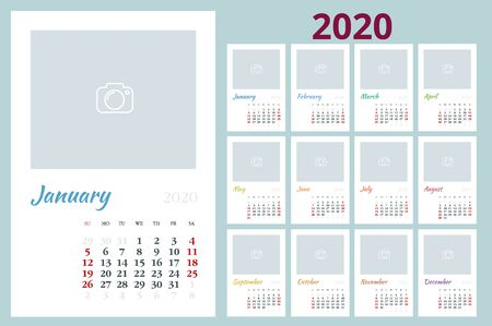 2020 year calendar. Holiday event planner. Week Starts Sunday. Ilustracja