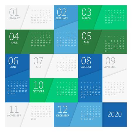2020 year calendar. Holiday event planner. Week Starts Sunday. Corporate design planner template.