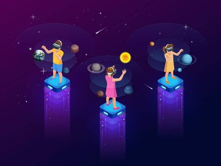 Isometric virtual reality concept. A girls and boy in virtual reality glasses looks at planets, comets and stars, space exploration