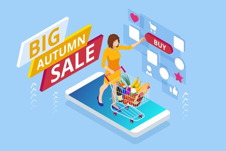 Isometric design templates collection of Autumn Offer Discount Template Elements Banner. Big Autumn Sale. Fall Time Sale Design. 일러스트