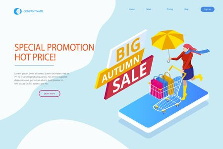 Web page design templates collection of Autumn Offer Discount Template Elements Banner. Big Autumn Sale
