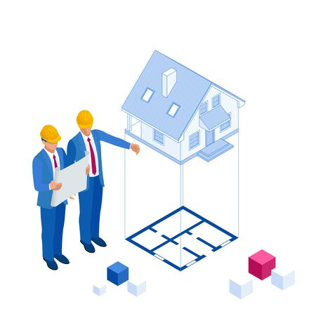 Isometric architect builders studying layout plan of the house, a civil engineers working with documents on construction site Иллюстрация