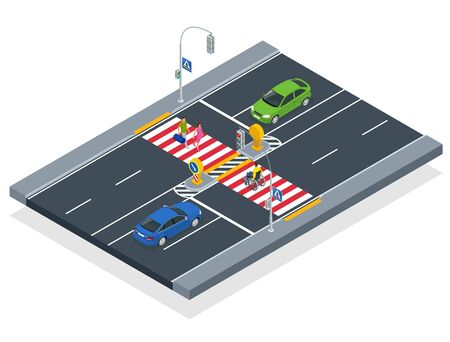 Isometric people cross the road at a pedestrian crossing. A disabled man in a wheelchair crosses the street. Ilustracja