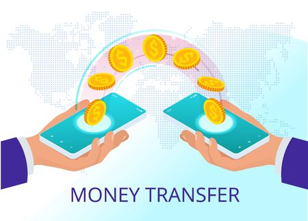 Isometric technology online banking money transfer, e-commerce concept. Mobile payments, mobile banking.