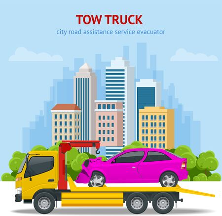 Tow truck, roadside assistance . Tow truck for transportation faults and emergency cars. The tow truck picks up the car on the penalty area. Banque d'images - 131335855