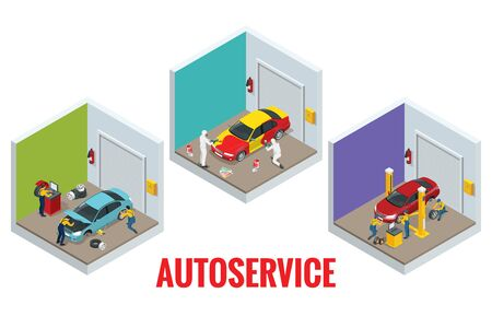 Isometric car repair maintenance autoservice center garage and car service concept. Technicians replace vehicle part, wheels. Stok Fotoğraf - 131335857