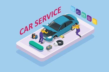 Isometrische Autoreparatur Wartung Autoservice Center Garage und Autoservice Konzept Techniker ersetzen Fahrzeugteil, Räder. Vektorgrafik