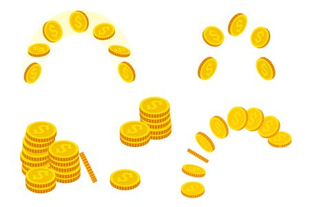 Isometric set of Gold Coins isolated on white background. Gold money.