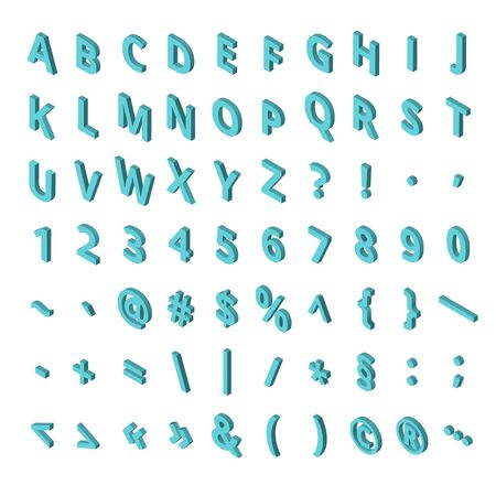 Isometric font alphabet isolated on the background. Isometric abc. Letters, numbers and symbols. Three-Dimensional stock typography for headlines, posters etc