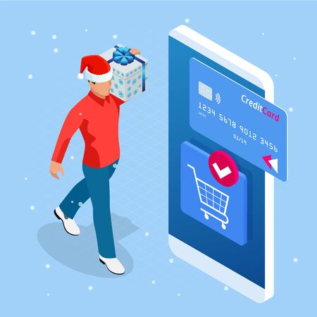 Isometric Christmas online shopping and winter sale web banner concept. Illustration