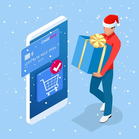Isometric Christmas online shopping and winter sale web banner concept. Delivery man with winter gift box. Merry Christmas and Happy Holidays Illustration