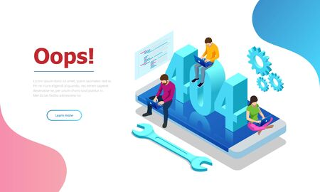 Isometric error 404 page layout vector design. The page you requested could not be found. Website 404 page creative concept. Website under construction page.