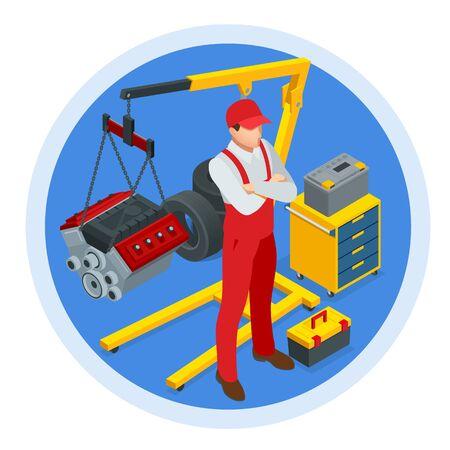 Isometric Car Maintenance Vehicles Diagnostics and Repair Service. Car service Car Engine.