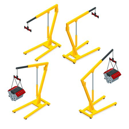 Isometric set of yellow garage crane or auto service lift for the car engine. Car maintenance vehicles diagnostics and repair service. Stok Fotoğraf - 132124039