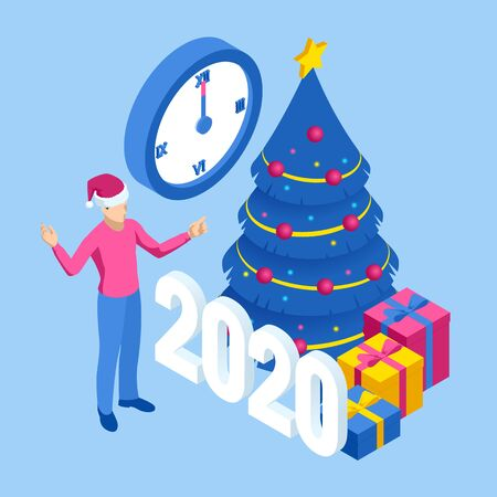 Isometric concept Business New Year 2020. Strategy, promotion campaign concept. Vettoriali