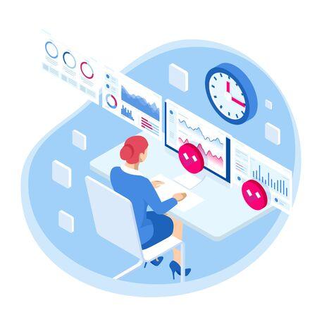 Gestión de procesos de análisis de datos comerciales isométricos o panel de inteligencia en una pantalla virtual que muestra gráficos de estadísticas de datos de operaciones y ventas y el concepto de indicadores clave de rendimiento