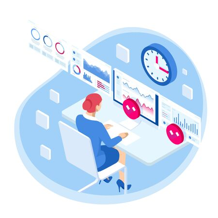 Isometric Business data analytics process management or intelligence dashboard on virtual screen showing sales and operations data statistics charts and key performance indicators concept